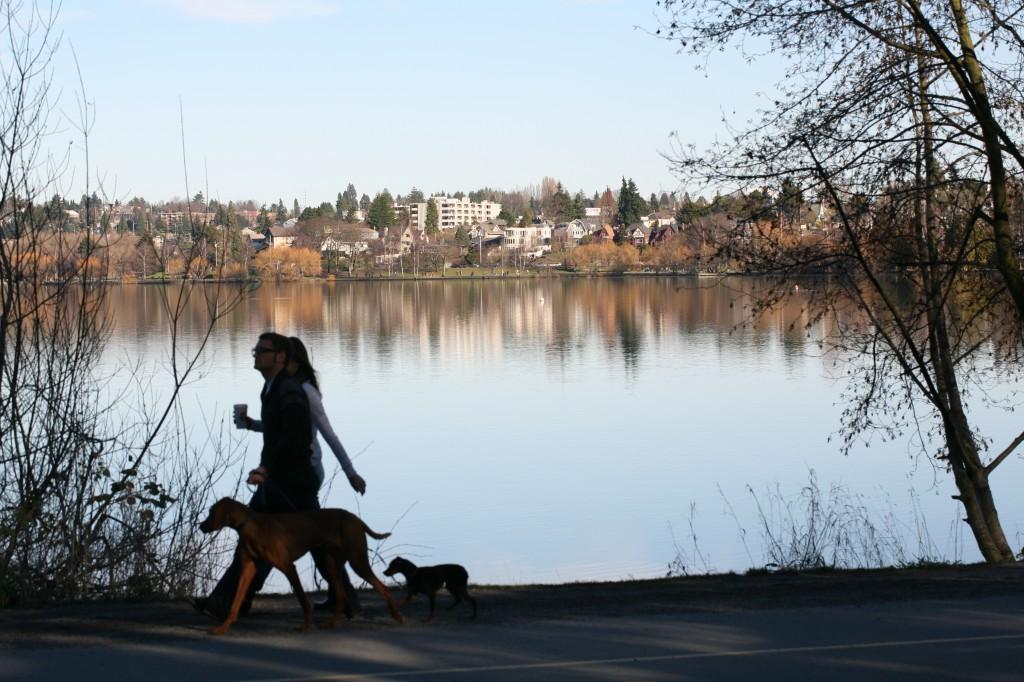 Brisk walk by the lake by Gordon Lee
