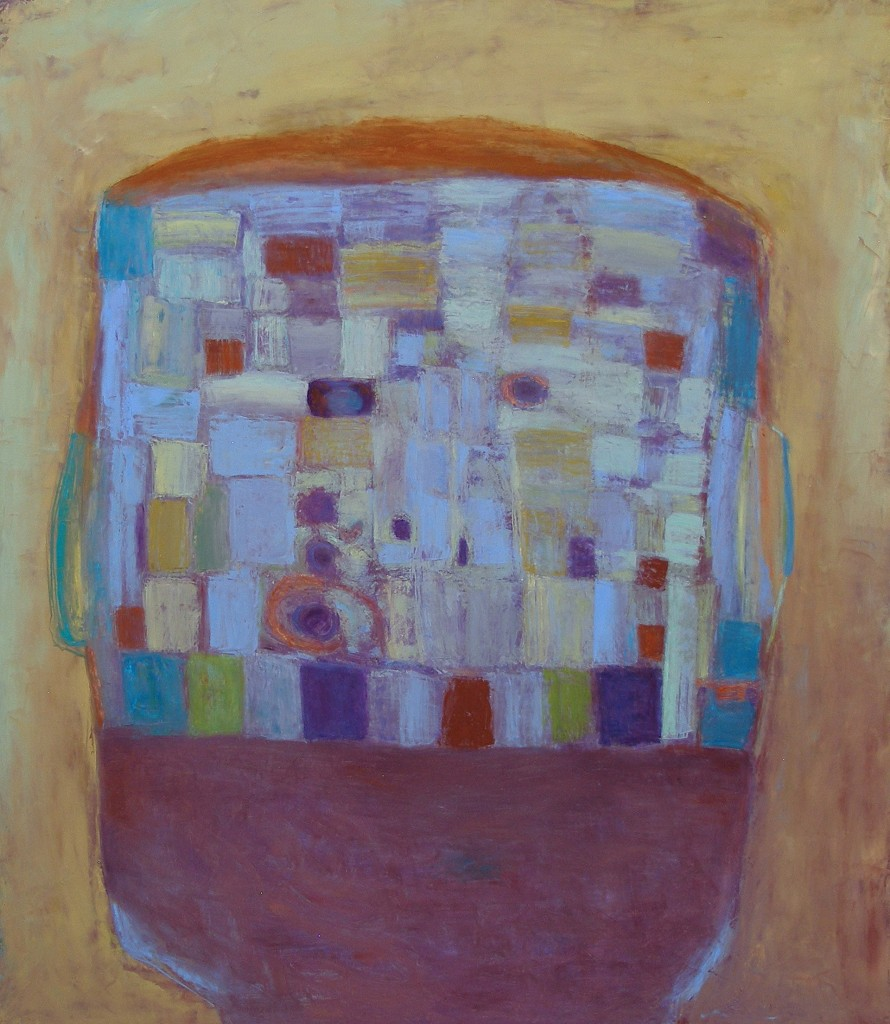 Quilted Head (Oil on Canvas 42 x 38)