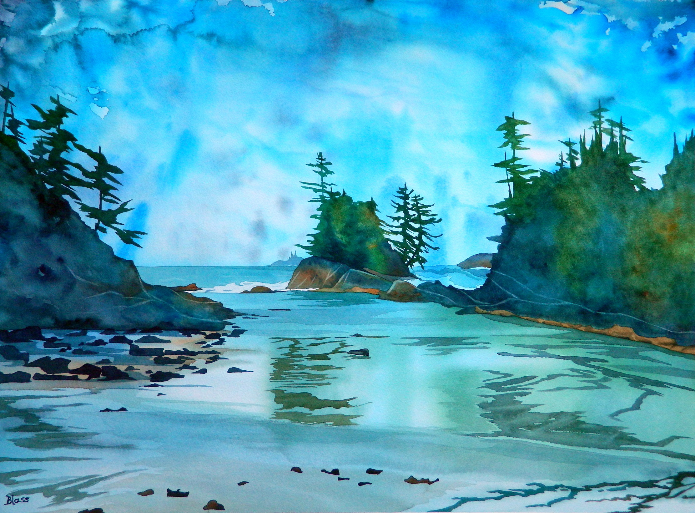 """Trails Through the Waters (Watercolor on paper, 22x30"""")"""