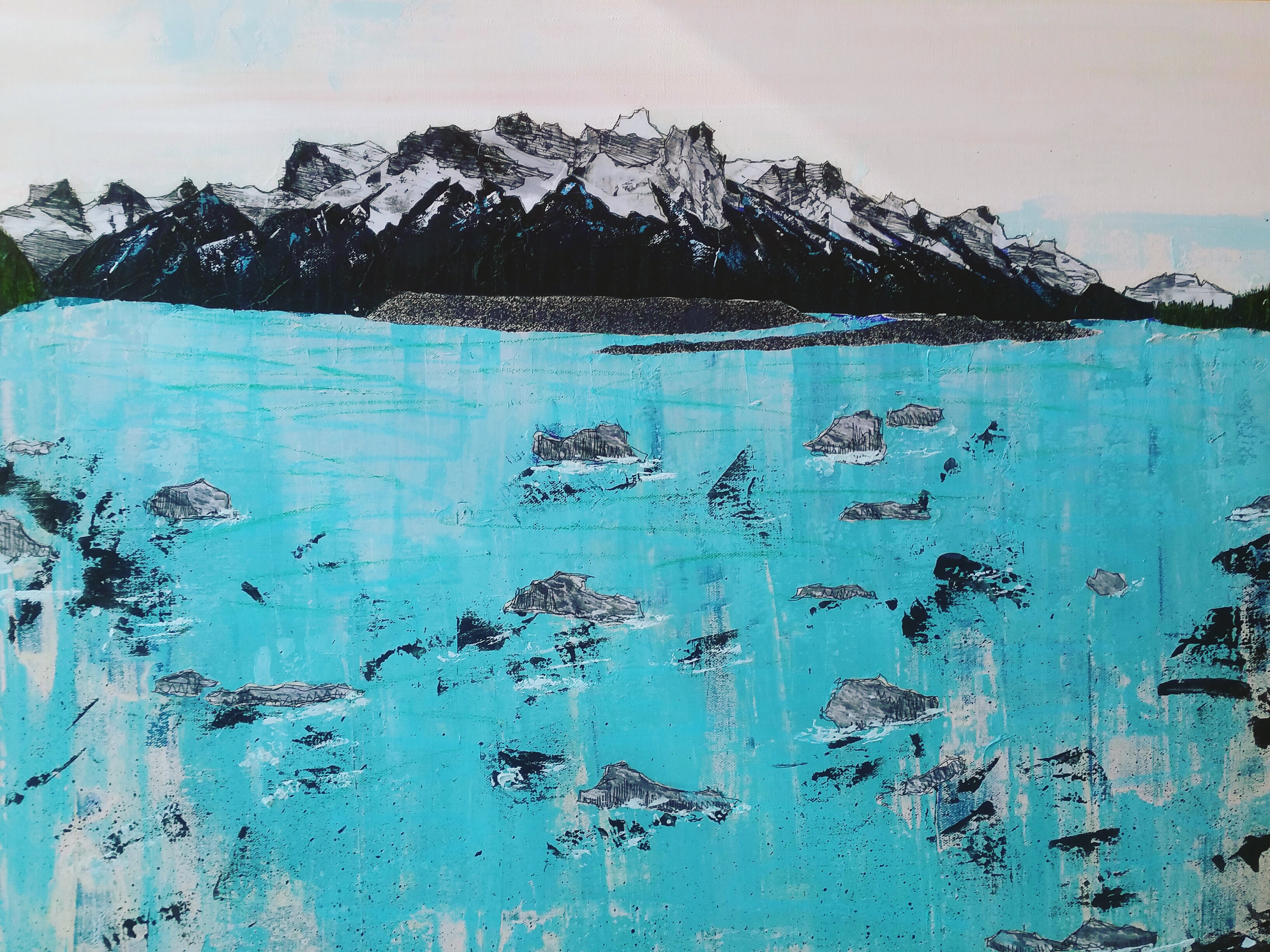 Bow River Valley mixed-media-on-canvas
