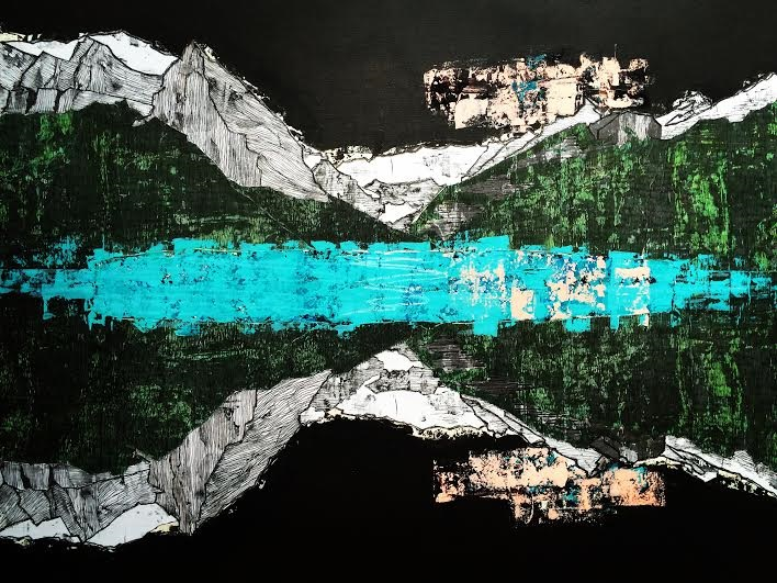 lake louise alberta: mixed-media on canvas