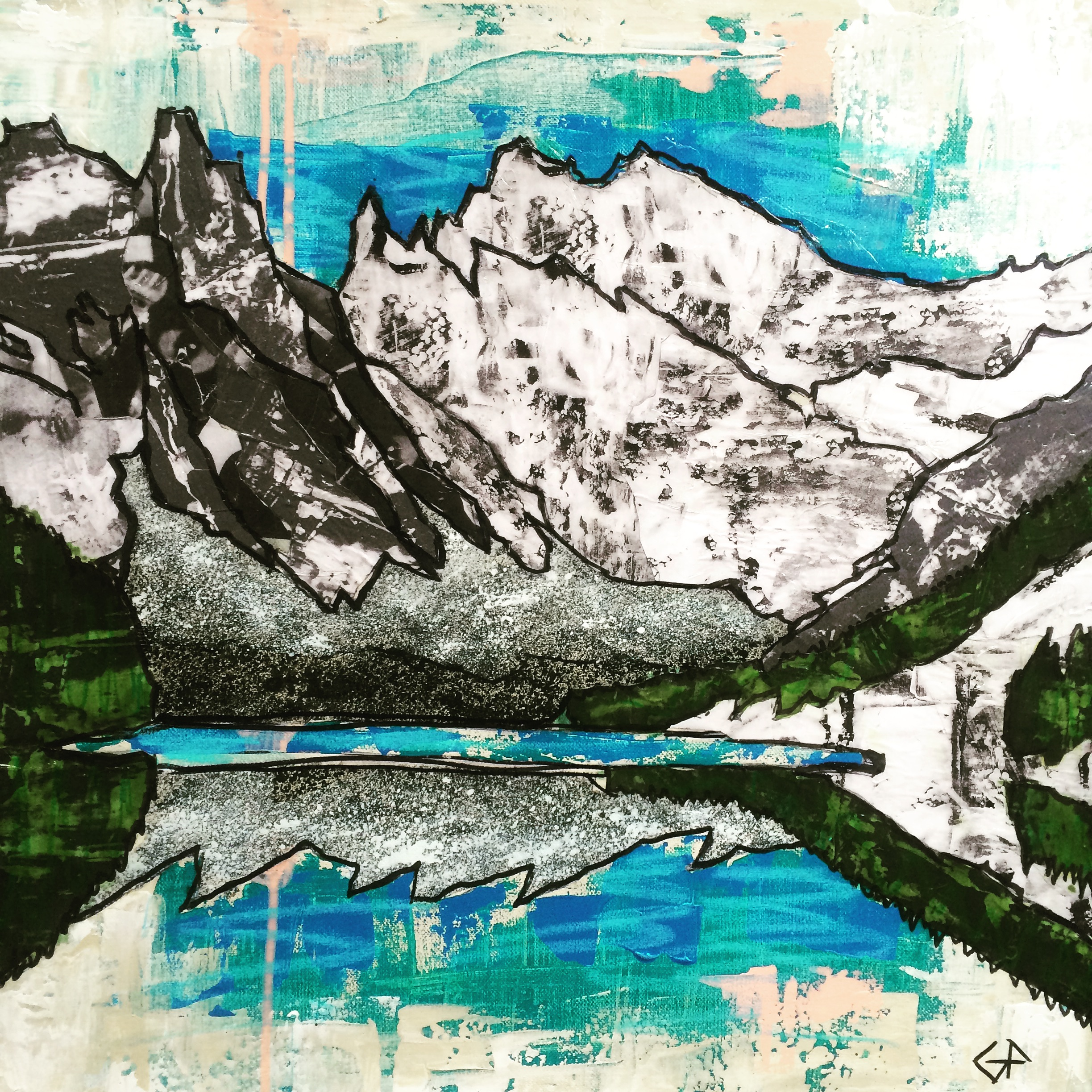 lake-agnes-alberta-mixed-media-on-canvas-50cmx50cm