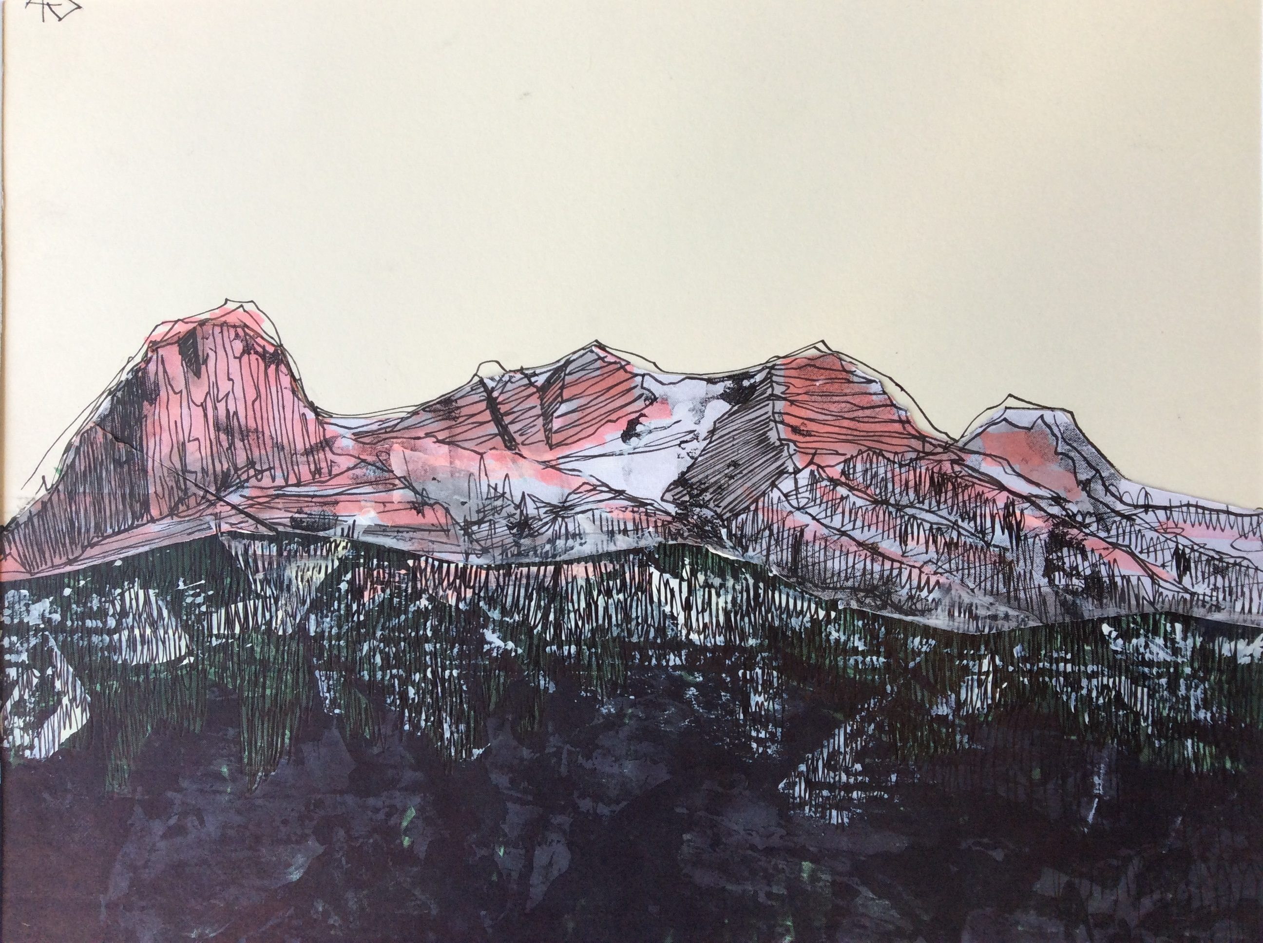 Morning Canmore mixed-media-on-paper