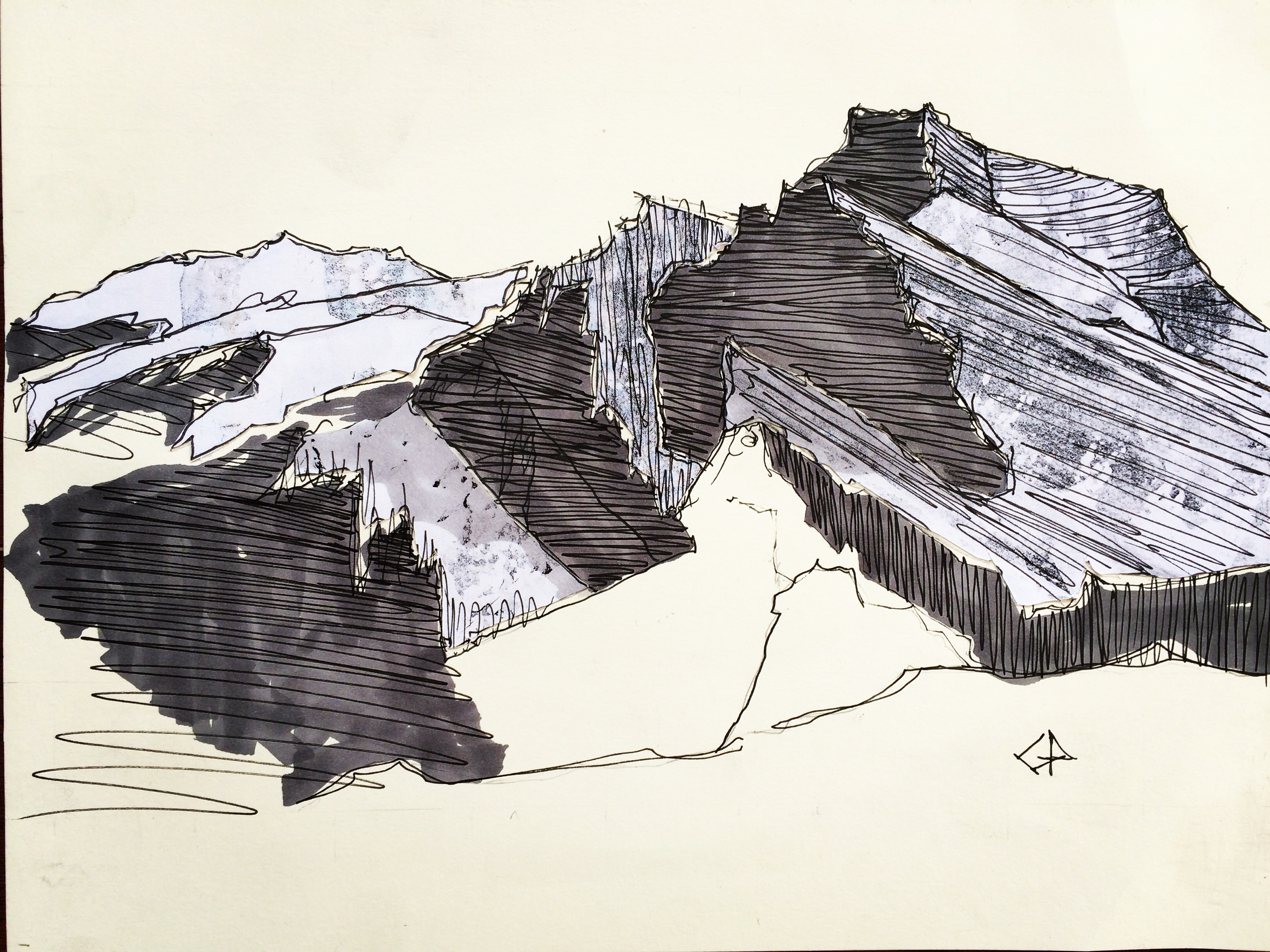 sketch-of-one-of-the-three-sisters-peaks-canmore-mixed-media-on-paper-20-3cmx25-4cm